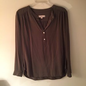 Olive silk blouse